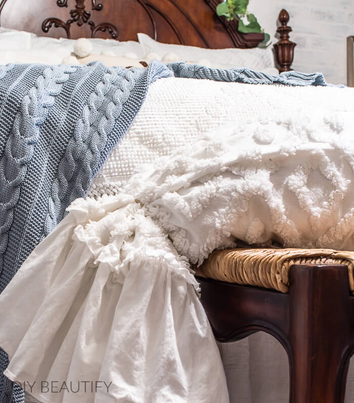 chenille bolster and cable knit throw