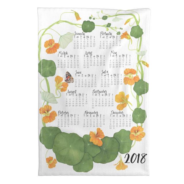 watercolor, botanical watercolor, nasturtiums, 2018 Watercolor Tea Towel, Anne Butera, My Giant Strawberry
