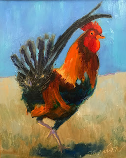 rooster painting, rooster, key west rooster, chicken painting, oil painting