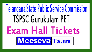 TSPSC Gurukulam PET Exam Hall Tickets 2017