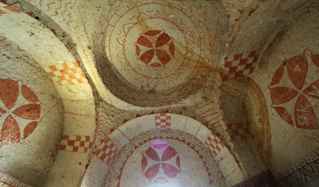 One of the rock-cut churches with beautiful frescoes (wall paintings) at Goreme Open Air Museum in Cappadocia, Turkey