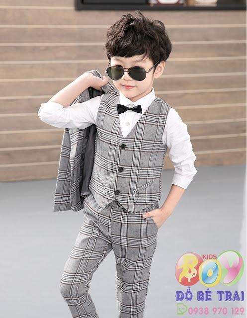 Bộ vest kẻ sọc cổ điển màu xám cho bé trai 3 chiếc áo khoác + áo vest + quần.