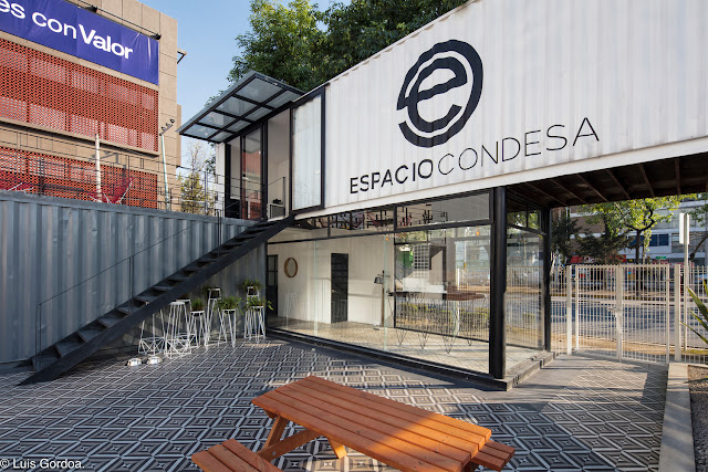 2 Story L-Shaped Shipping Container Office Building, Mexico 9