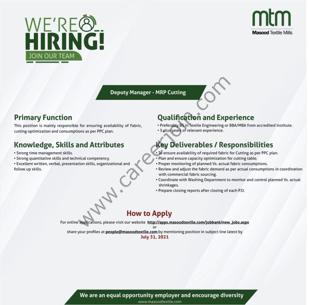 Masood Textile Mills Ltd MTM Jobs July 2021