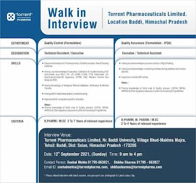 Torrent Pharma jobs,pharma jobs,pharmaceutical jobs,m.sc,b.pharm,m.pharm,vacancies,Walk-in jobs,Pharma jobs in Himachal Pradesh,