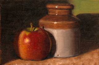 Oil painting of a red apple beside a small brown earthenware jar.