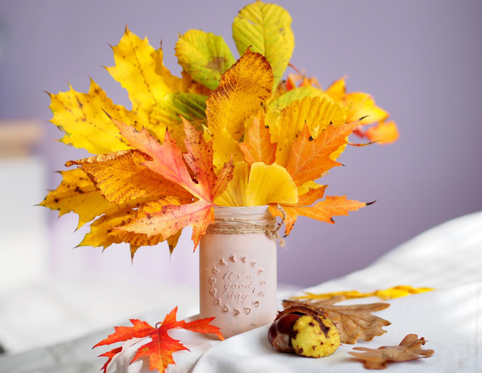DIY: jesenná dekorácia vhodná do kancelárie aj domácnosti // svietnik a váza v jednom