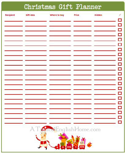 Christmas Gift Planner: A Typical English Home: Freebie Thursday: Christmas