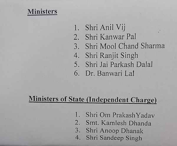 list-of-minister-in-haryana-news