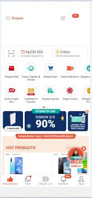 Tampilan Aplikasi Shopee Versi HP 2020