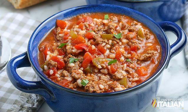stuffed pepper soup recipe in a blue bowl