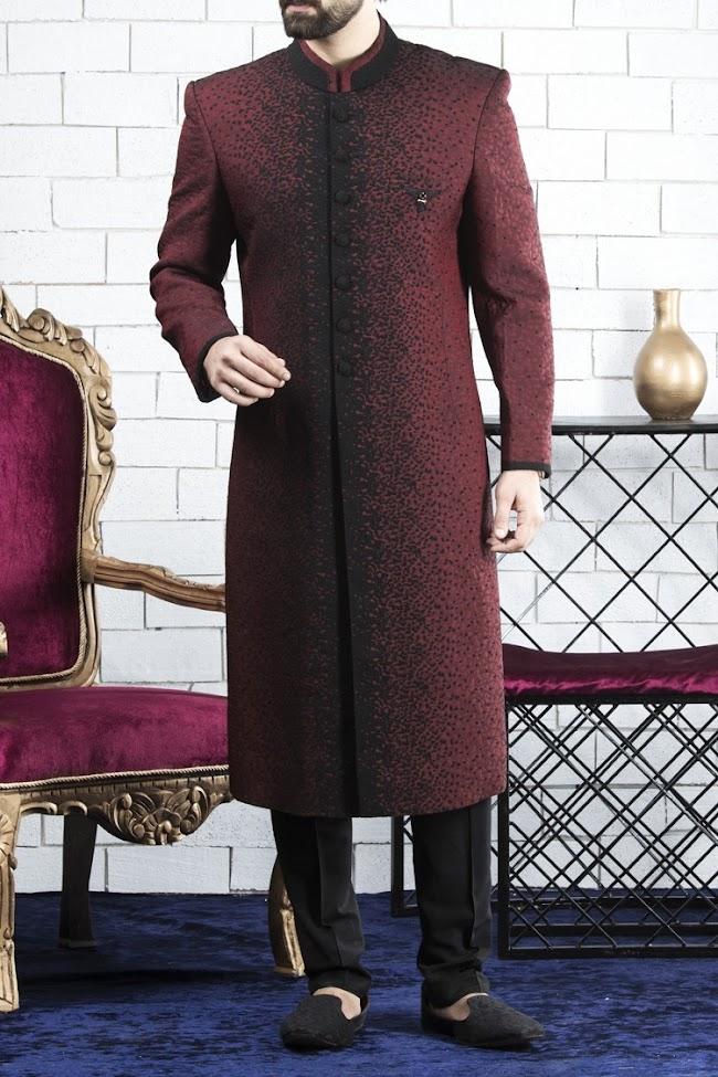 Almirah maroon color sherwani groom collection