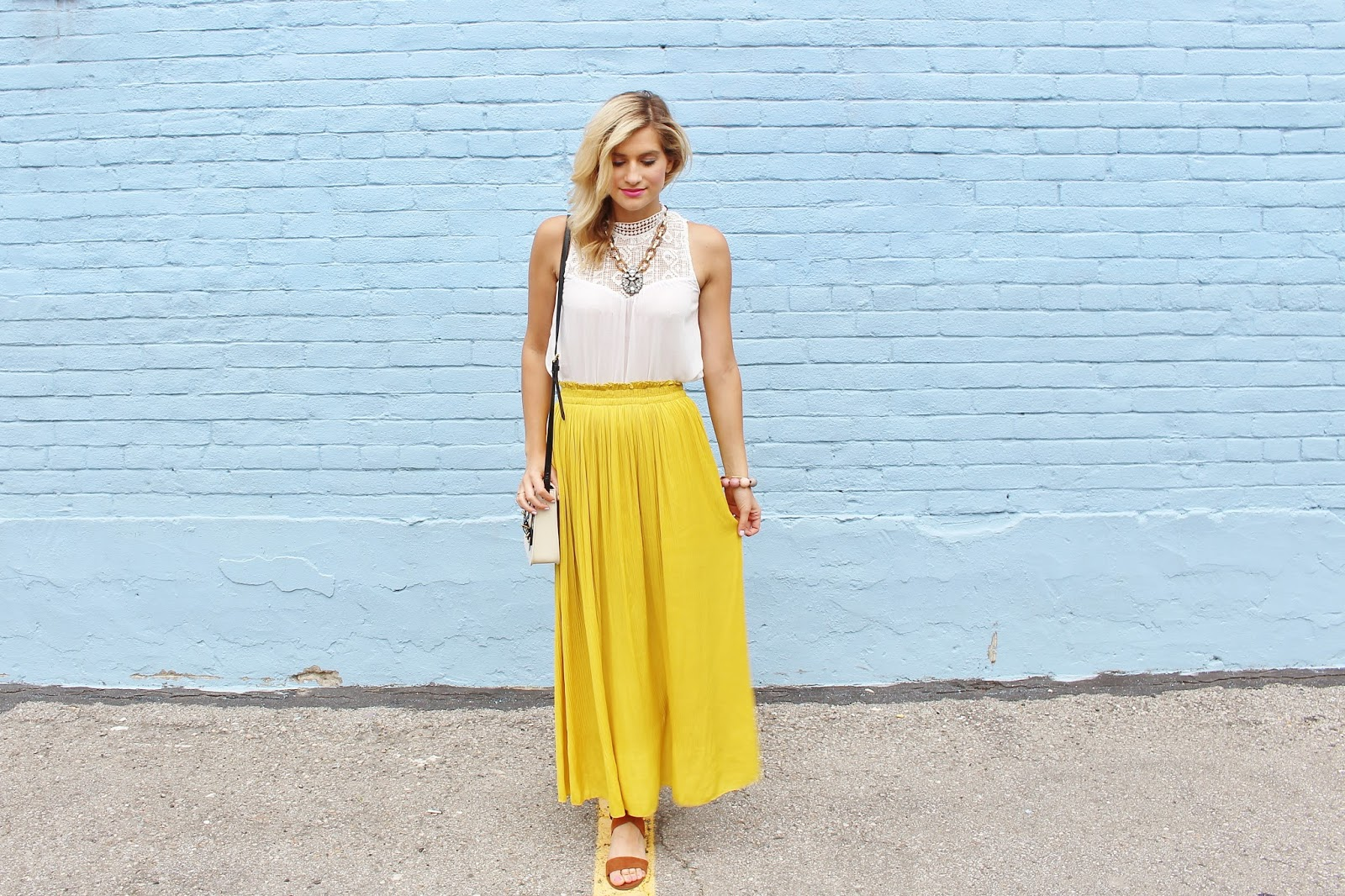 bijuleni- flowy yellow maxi skirt and victorian lace tank with brown suade sandals