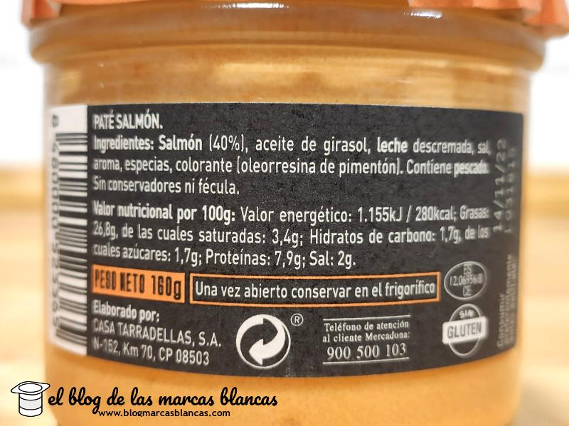 Ingredientes, valores nutricionales y fabricante del paté de salmón Hacendado de Mercadona en el blog de las marcas blancas.