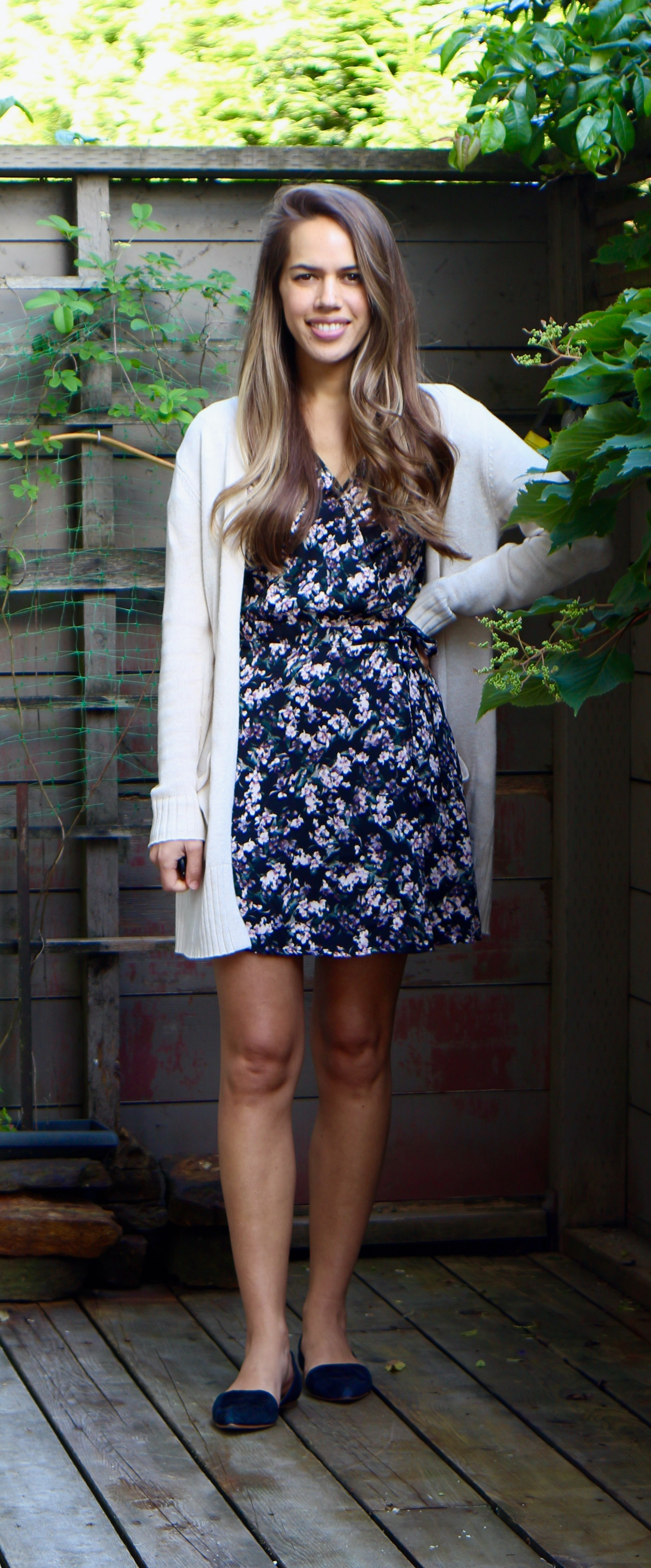 Jules in Flats - Floral Mini Wrap Dress with Cardigan (Business Casual Workwear on a Budget)
