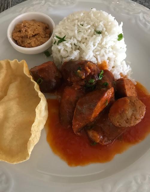 La Table du Chateau, Mauritius, sausage rougaille