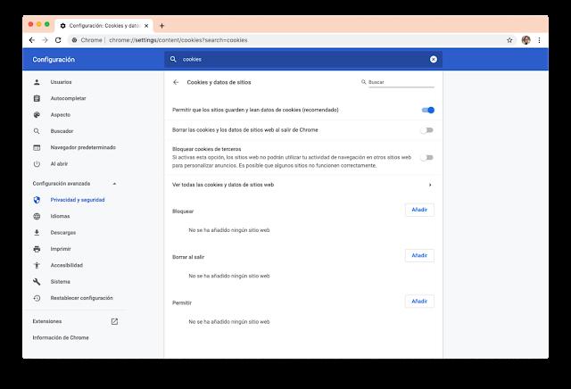 Las opciones de privacidad de Chrome también te dejan bloquear las cookies de terceros, con la misma advertencia de que las webs pueden dejar de funcionar correctamente
