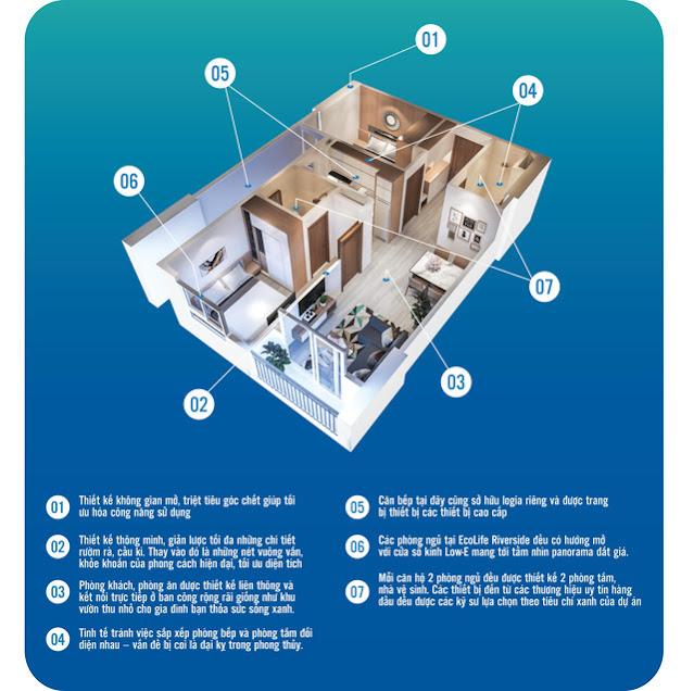 Tối giản diện tích căn hộ 2 PN ở Ecolife Riverside Quy Nhơn
