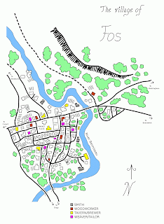 A map of a medieval/fantasy village called Fos. A river runs from the upper left towards the centre, snakes around some trees, then bends towards the lower left corner where it runs off the page. On the left of the river are many buildings of various sizes, with several roads passing amongst them. Some of the buildings are colour coded to indicate the locations of smiths, taverns, woodworkers, and tailors; others are labelled (including the town hall, inn, mill, marketplace, and two temples of different fictional religions. Three bridges lead across the river, with the main road passing by some more roads and buildings on the right side of the river. Many trees are scattered throughout the village, as well as several clumps in the upper right corner, where a ridge provides some alteration in the terrain.
