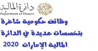 وظائف حكومية شاغرة بتخصصات عديدة في الدائرة المالية الإمارات 2020