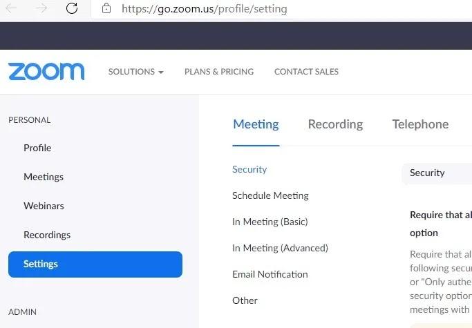 سجل إعدادات ملف تعريف تكبير الاجتماع المضيف