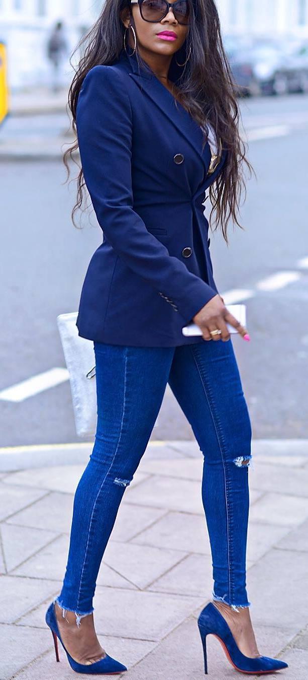 elegant trends / blazer + ripped jeans + heels