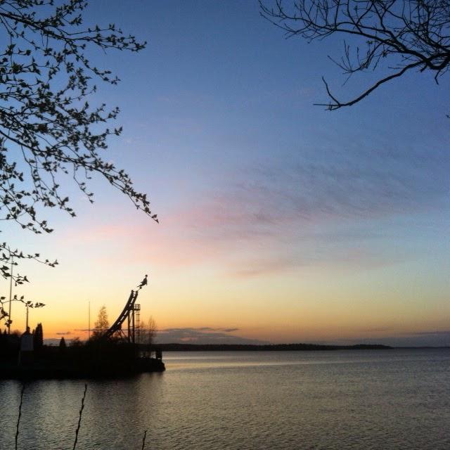 tampere, särkänniemi, näsijärvi, kevät, ilta, auringonlasku