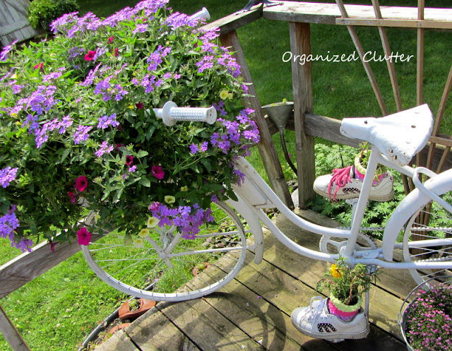 Bike Basket Planter and Shoe Planters