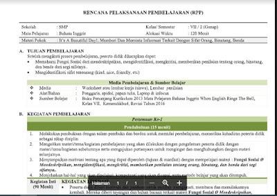 Lengkap - RPP Bahasa Inggris Kelas 7 Semester 2 Tahun 2021/2022