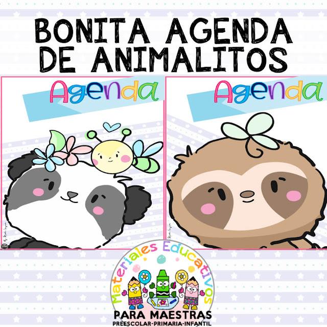 Bonita-agenda-animalitos-maestra-imprimir-pdf