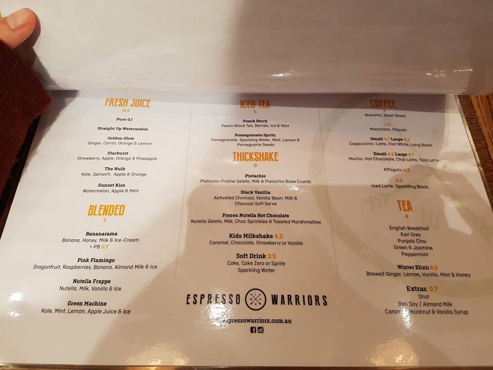 expresso-warrior-parramatta-menu