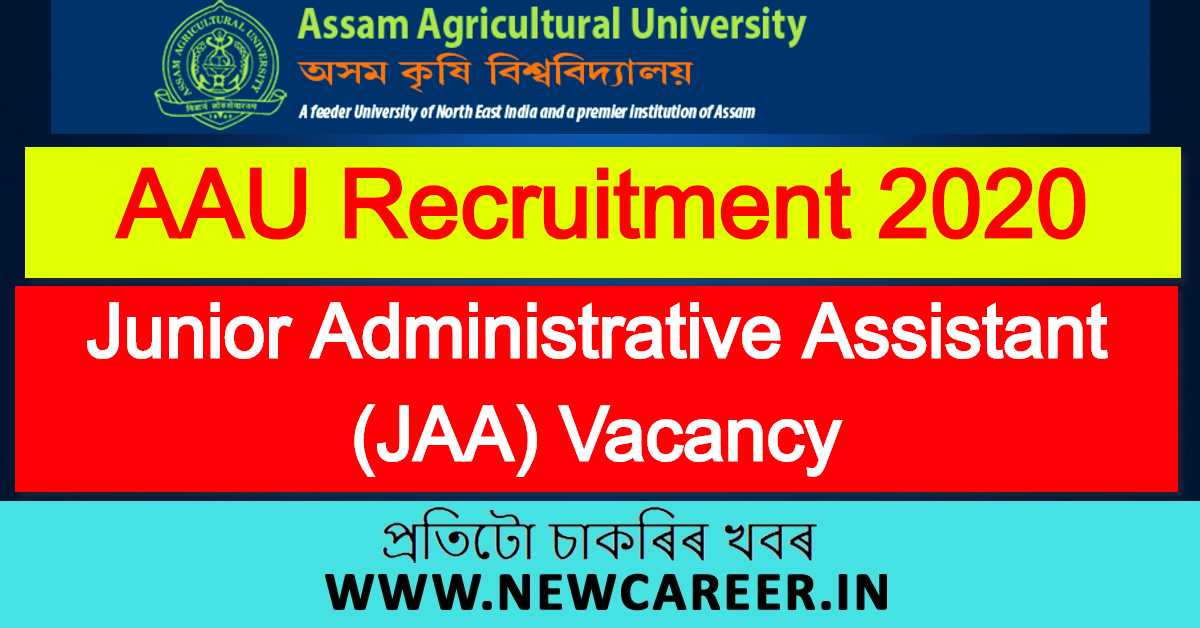 AAU Recruitment 2020: Apply for Junior Administrative Assistant Vacancy
