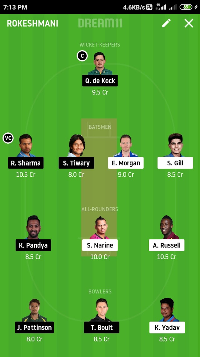 KKR VS MI, match 5 DREAM 11 prediction and tips
