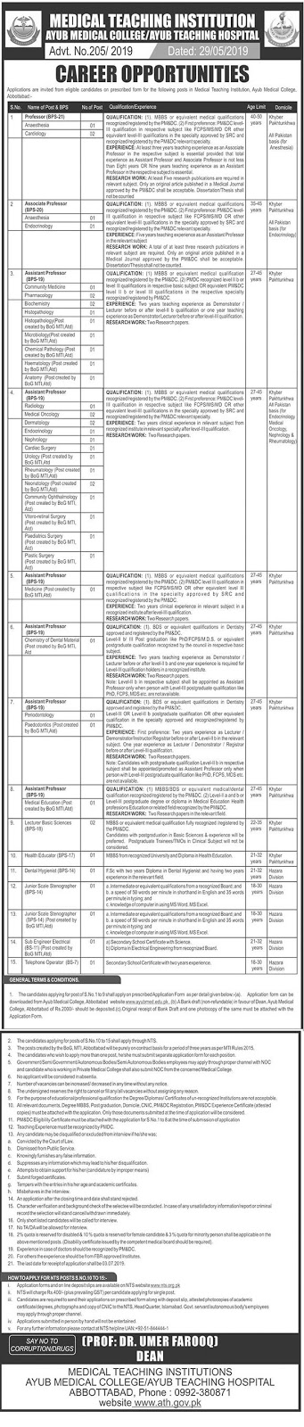 NTS Jobs in Teaching Hospital Abbottabad