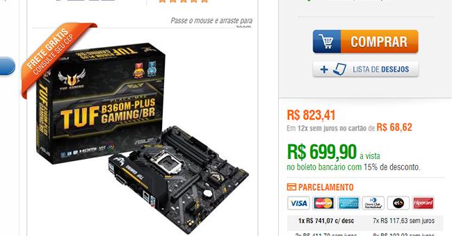 Placa-Mãe: Asus TUF B360M-Plus Gaming/BR, Intel LGA 1151, mATX, DDR4