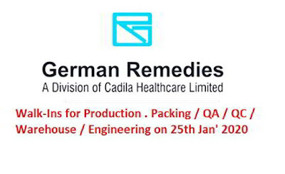 German Remidies Walk-in interview for multiple positions on 25th Jan' 2020