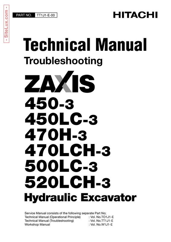 Hitachi 450, 470, 500, 520 Zaxis Hydraulic Excavator