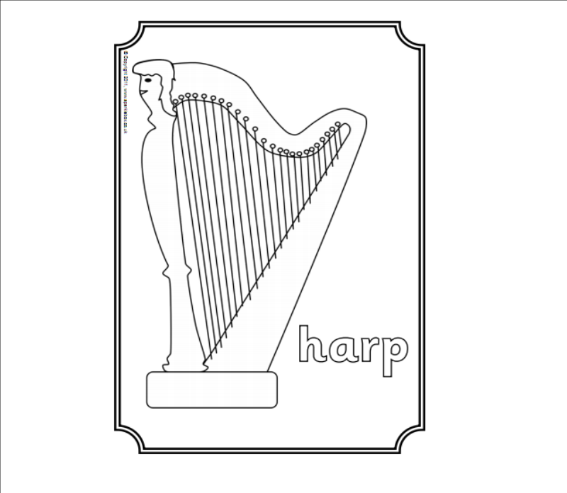 harp coloring pages - photo#14