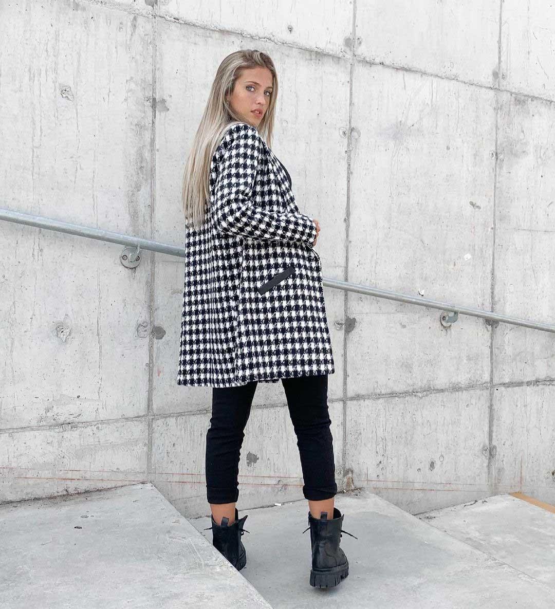 saco ocho octavos pied poule moda invierno 2021 mujer