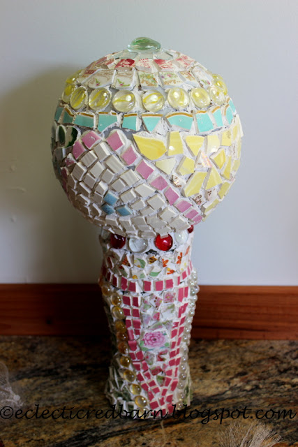 Eclectic Red Barn: Completed Decorative Garden Art piece before grouting