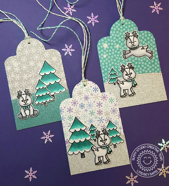 Sunny Studio Stamps: Gleeful Reindeer & Crescent Tag Toppers Holiday Christmas Tags by Lindsey Sams.