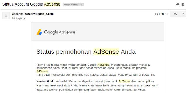 Pengalaman Ditolak AdSense