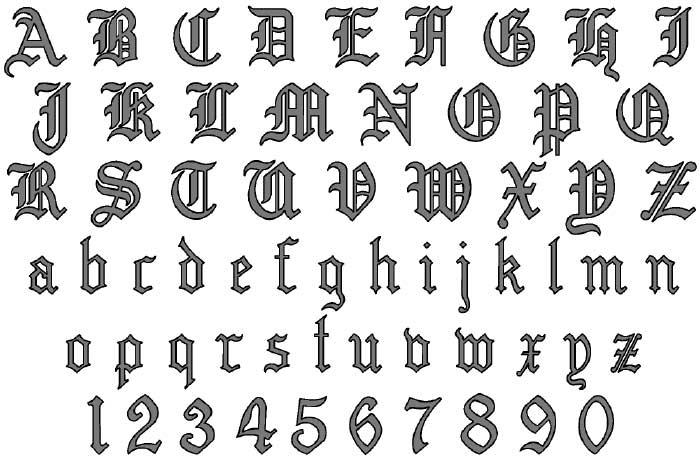 Calligraphy Alphabet : old english calligraphy alphabet Old English Numbers Printable
