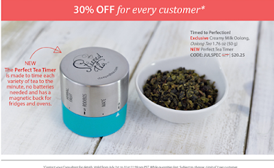 30% off for every customer when buying from Cathy Plotnick, Steeped Tea