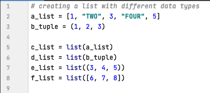 Using list function to copy data in Python