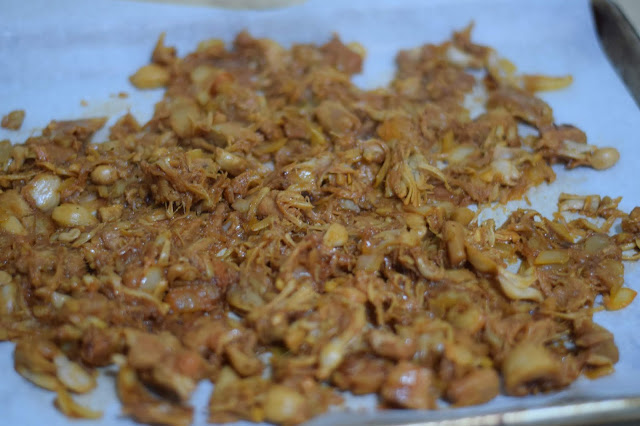 The cooked jackfruit on a baking sheet.