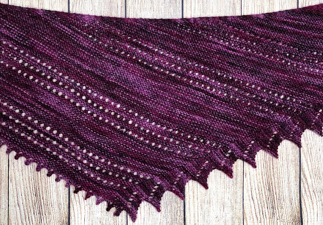 Deep purple-burgundy shawl knitted with lace detail