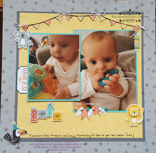 Scrapbooking page created using Stampin' Up! products.