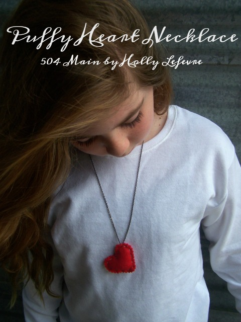 Adorable Puffy Heart Valentines Day necklace