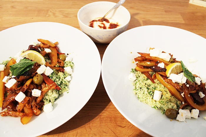 Squid & Chorizo with greek style couscous